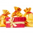 Gift boxes and golden sacks - Lizenzfreies Foto