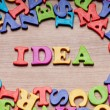Ideas concept with letters on the background — Stock Photo #5414333