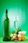 Wine concept with tulips — Stock Photo