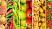 Collage av många olika frukter och grönsaker — Stockfoto