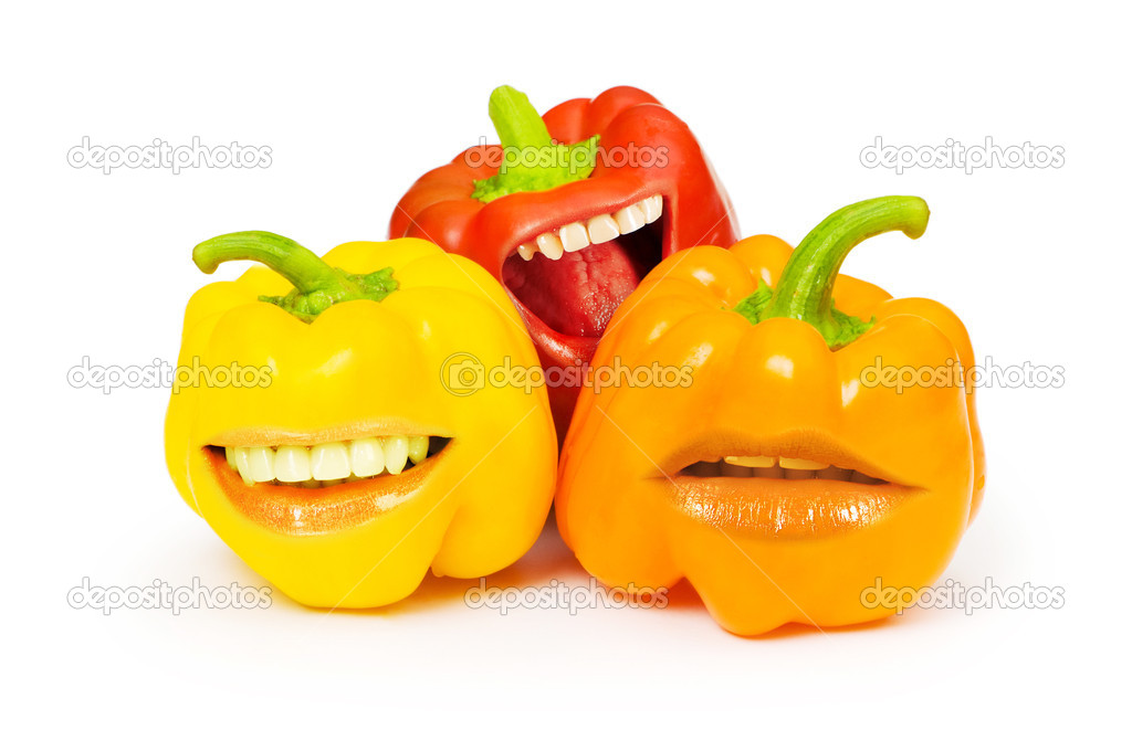 Three bell peppers with funny mouth on white — Stock Photo #5549443