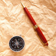 Vintage compass on the paper in adventure concept — Stock Photo
