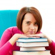 Young female student with many study books — Stock Photo #5553507