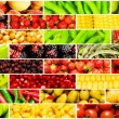 Collage of many different fruits and vegetables — Stok fotoğraf