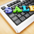 SALE word on the keyboard — Foto de Stock