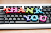 Thank you message on the keyboard — Stock Photo
