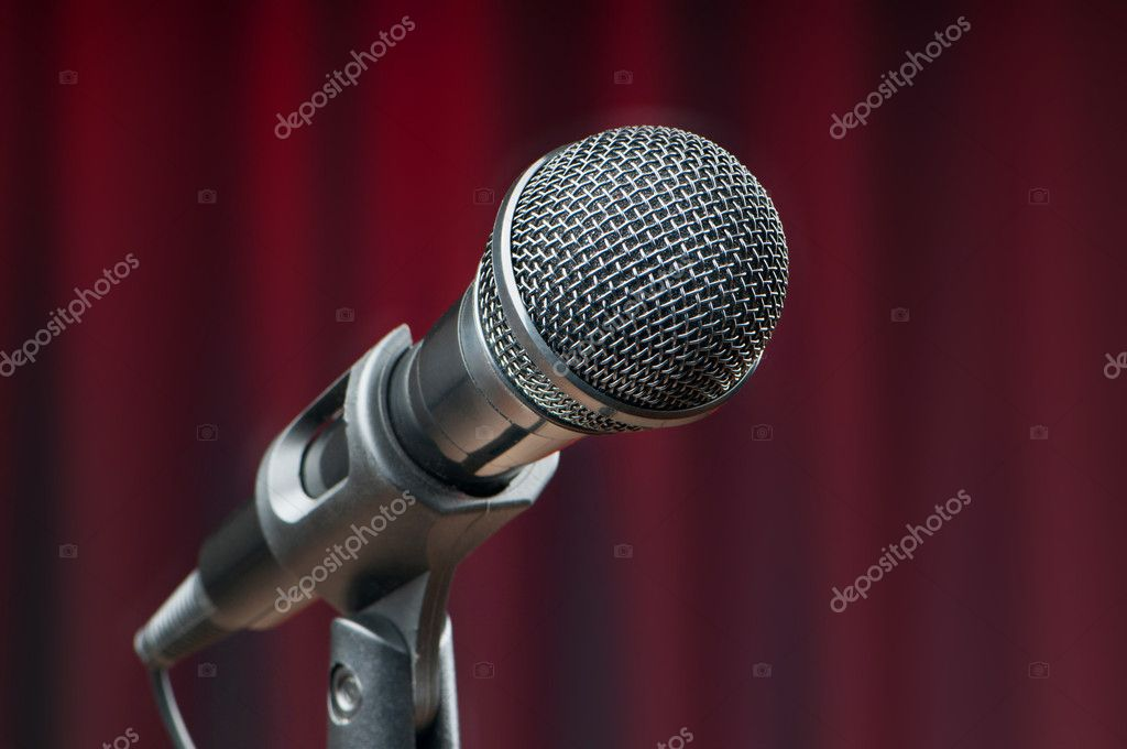 Audio microphone against the background — Stock Photo #5591664