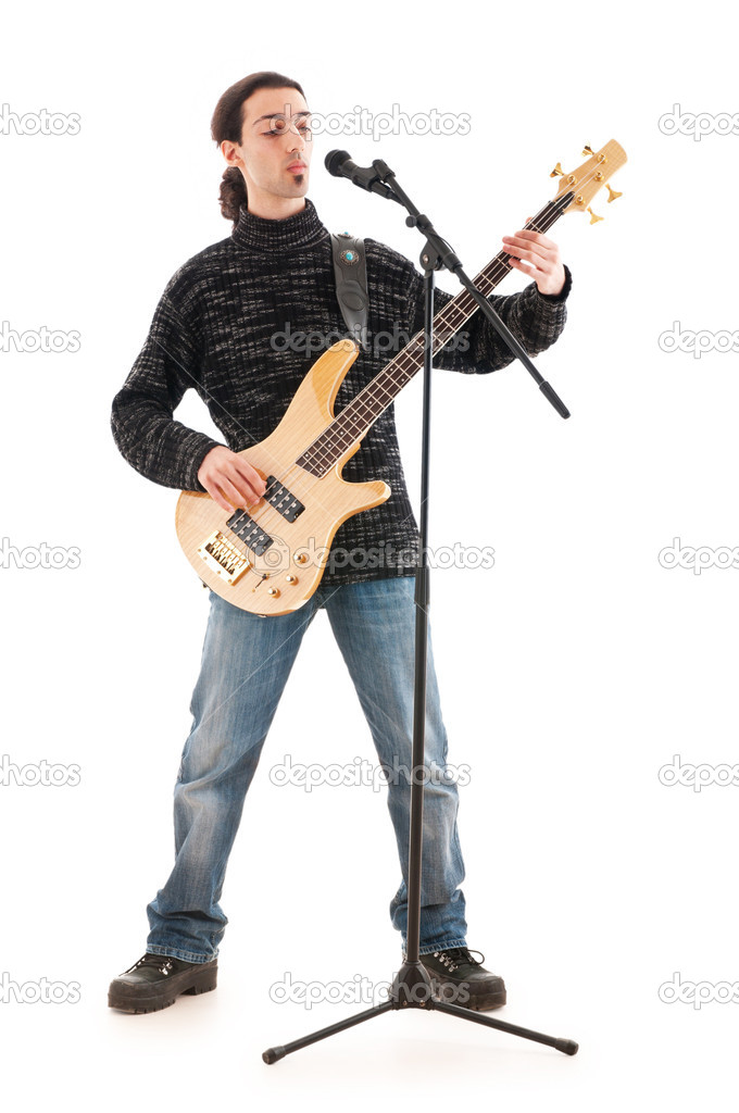 Guitar player isolated on the white background — Stock Photo #5593976