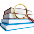 Magnifying glass over the stack of books — Stock Photo #5605357