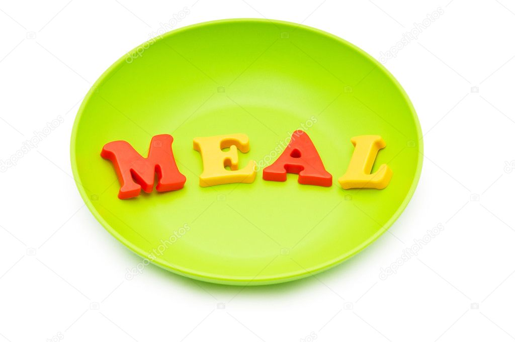 Plate with letters on the white background — Stock Photo #5608592