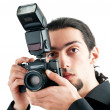 Photographer with the digital camera — Stock Photo