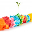 Stock Photo: Paper recycling concept with seedlings on white