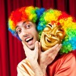 Actor with maks in funny theater concept — Stock Photo #5670602