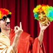 Actor with maks in funny theater concept — Stock Photo #5704426
