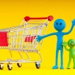 Royalty-Free Stock Photo: Happy family with shopping cart