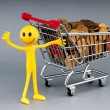 Happy family with shopping cart - Foto Stock