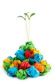 Paper recycling concept with seedlings on white — Stock Photo