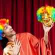 Actor with maks in funny theater concept — Stock Photo #5871361