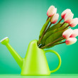 Gardening concept - Tulips and watering can — Stock Photo #5872739