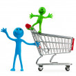 Shopping cart against the white background - Stok fotoğraf