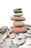 Stack of pebbles isolated on the white — Stock Photo
