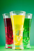 Colourful cocktail in glasses with ice — Stock Photo