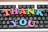 Dank u bericht op het toetsenbord — Stockfoto