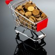 Royalty-Free Stock Photo: Gold coins in shopping cart