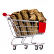 Gold coins in shopping cart — Stock Photo #5984174