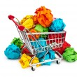 Recylcing concept with color paper and shopping cart - Stock Photo