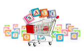 Shopping cart against the background — Stock Photo
