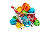 Conceito de recylcing com papel da cor e do carrinho de compras — Foto Stock