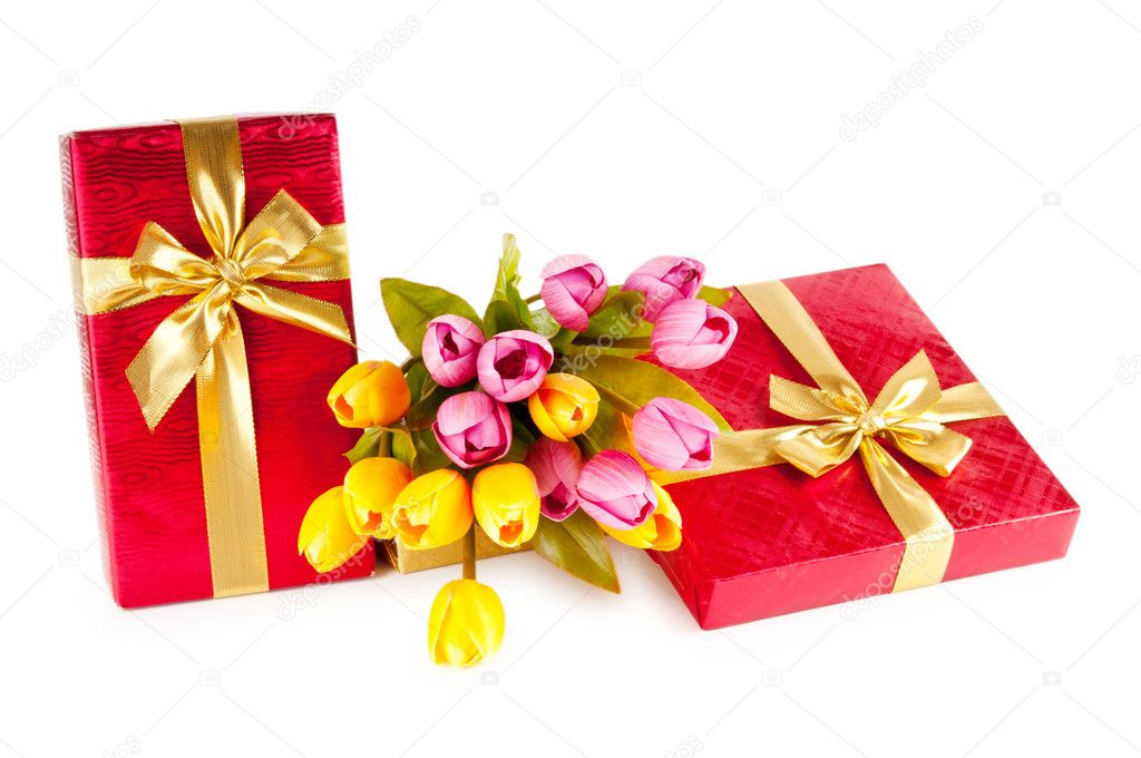 Celebration concept - gift box and tulip flowers  — Stock Photo #6017739