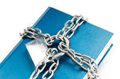 Censorship concept with books and chains on white — Stock Photo