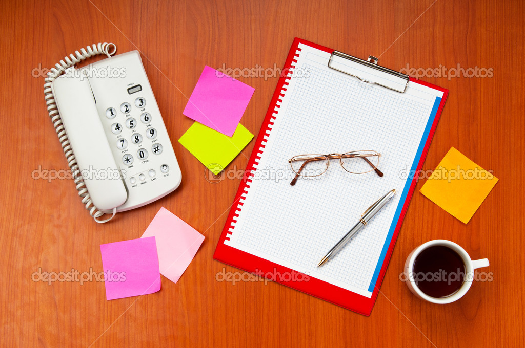 Desk top with many items  — Stock Photo #6020753