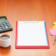 Desk top with many items — Stock Photo #6081919