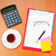 Desk top with many items — Stock Photo #6081926