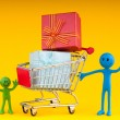Stock Photo: Smileys with gift box in shopping cart