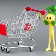 Stock Photo: Happy family with shopping cart