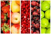 Colagem de muitas frutas e legumes — Foto Stock