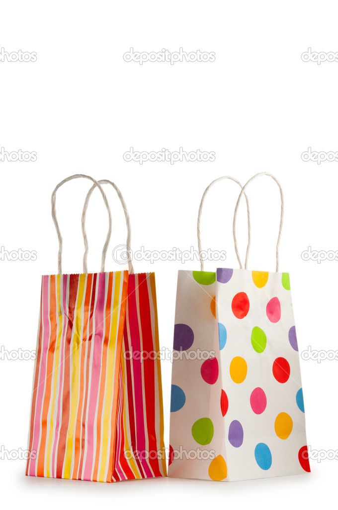 Colourful paper shopping bags isolated on white  Stock Photo #6083069