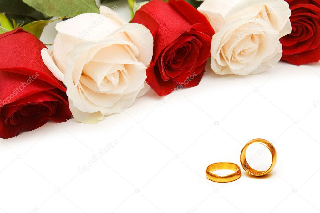 Wedding concept with roses and rings  Stock Photo #6084437