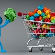 Recylcing concept with color paper and shopping cart — Foto de stock #6207970