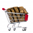 Gold coins in shopping cart - Stockfoto
