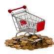 Gold coins in shopping cart - ストック写真