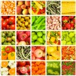 Collage of many fruits and vegetables — Stock Photo
