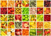 Collage di molti frutti e verdure — Foto Stock