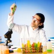 Chemist in the lab experimenting with solutions — Stock Photo #6272986