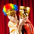 Actor with maks in funny theater concept — Stock Photo #6277206