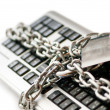 Concept of internet security with padlock and keyboard - Stock Photo
